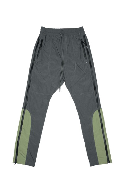SIDE Z- NYLON COLOR BLOCK TRACK PANTS_CHARCOAL