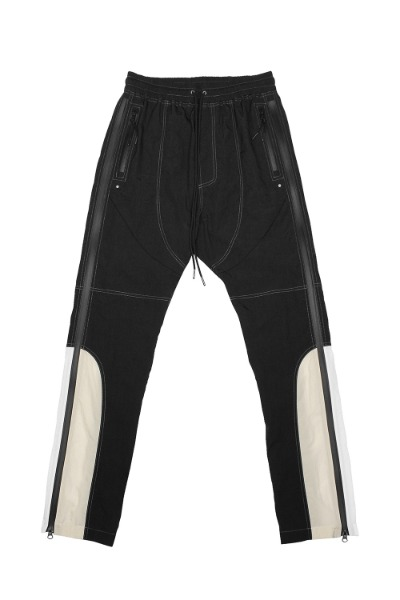 SIDE Z- NYLON COLOR BLOCK TRACK PANTS_BLACK