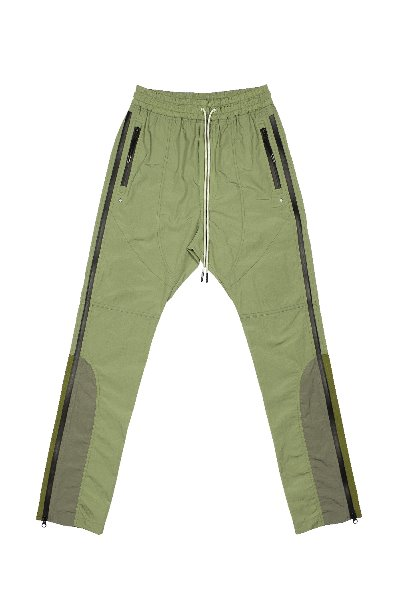 SIDE Z- NYLON COLOR BLOCK TRACK PANTS_OLIVE